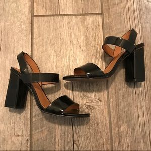 H&M Faux patent leather square heel sandals